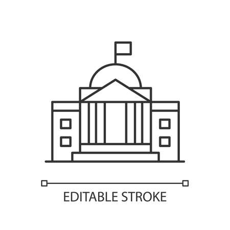 State institution pixel perfect linear icon. Supreme court building entrance. National museum. Thin line customizable illustration. Contour symbol. Vector isolated outline drawing. Editable stroke