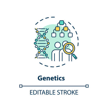 Genetics concept icon. Human genome research, hereditary diseases study idea thin line illustration. Genetic engineering, biotechnology. Vector isolated outline RGB color drawing. Editable stroke
