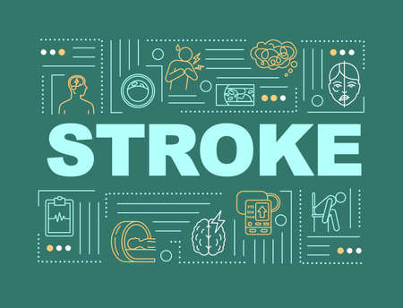 Stroke word concepts banner. Cardiovascular disease. Heart attack. High blood pressure. Infographics with linear icons on green background. Isolated typography. Vector outline RGB color illustration Иллюстрация