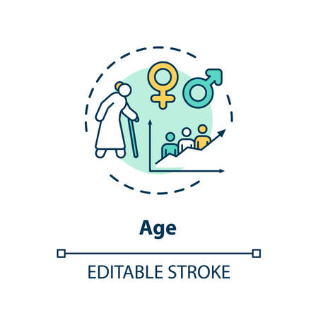 Age concept icon. Cardiovascular system diseases, CVD factors, senility idea thin line illustration. Cardiac health problems, risk group. Vector isolated outline RGB color drawing. Editable stroke Ilustracja