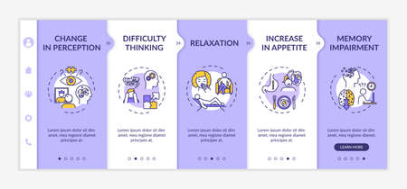 Cannabis effect onboarding vector template. Increase in appetite, memory impairment, relaxation. Responsive mobile website with icons. Webpage walkthrough step screens. RGB color concept Imagens - 145534808