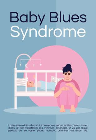 Baby blues syndrome poster template. Postpartum depression, postnatal mood disorder commercial flyer design with semi flat illustration. Vector cartoon promo card. Advertising invitation