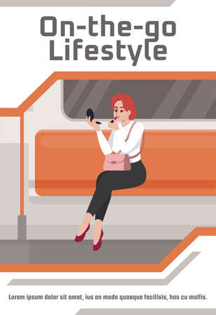 On the go lifestyle poster template. Commercial flyer design with semi flat illustration. Vector cartoon promo card. Everyday businesswoman life. Busy lifestyle advertising invitation