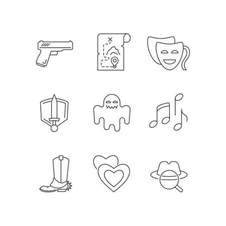 Different movie styles and genres pixel perfect linear icons set. Media entertainment industry customizable thin line contour symbols. Isolated vector outline illustrations. Editable stroke Illustration
