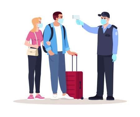 Health check upon arrival semi flat RGB color vector illustration. Security guard check passengers temperature. Virus outbreak. Airport terminal isolated cartoon characters on white background Vektorové ilustrace