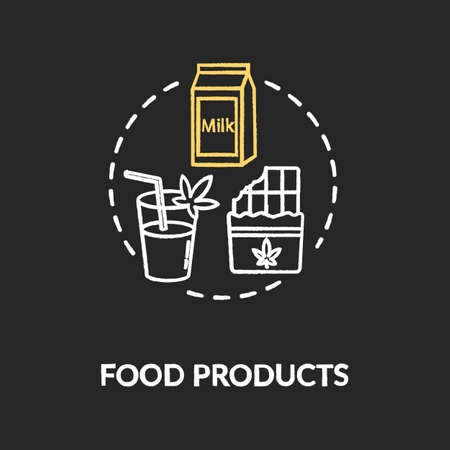 Food products chalk RGB color concept icon. Cannabis infused food, edible hemp products idea. Snacks and drinks with CBD and THC. Vector isolated chalkboard illustration on black background