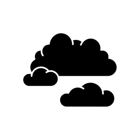 Cloudy weather black glyph icon. Overcast, moody sky, meteo forecasting silhouette symbol on white space. Atmosphere condition prediction science, meteorology. Clouds Vector isolated illustration