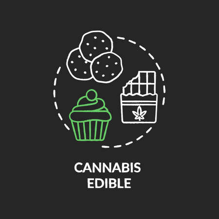 Cannabis edible chalk RGB color concept icon. Marijuana infused food, hemp snacks idea. Sweet desserts, confections with marihuana. Vector isolated chalkboard illustration on black background