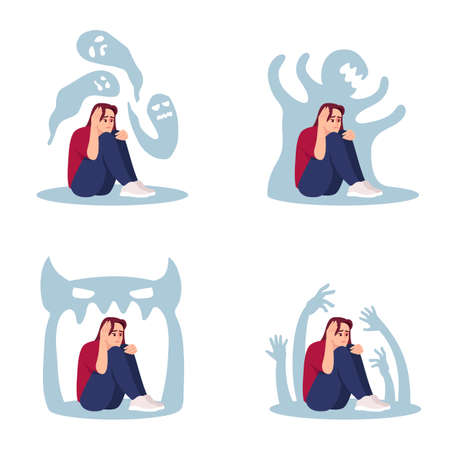Woman with psychosis flat vector illustrations set. Stressed girl haunted by inner demons isolated cartoon characters kit. Emotional pressure, depression, anxiety. Mental disorder, schizophrenia Vettoriali
