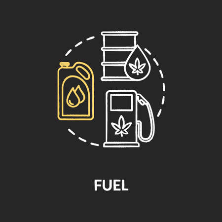 Fuel chalk RGB color concept icon. Cannabis based petrol, hemp oil use idea. Natural resource, organic product, biofuel manufacturing. Vector isolated chalkboard illustration on black background Stock Illustratie