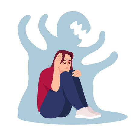 Girl with schizophrenia semi flat RGB color vector illustration. Stressed woman isolated cartoon character on white background. Emotional pressure, mental disorder. Depressed girl with anxiety Vecteurs