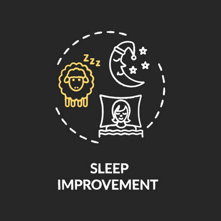 Sleep improvement chalk RGB color concept icon. Recreational cannabis use, night rest idea. Good marijuana side effect, relaxation. Vector isolated chalkboard illustration on black background Illustration