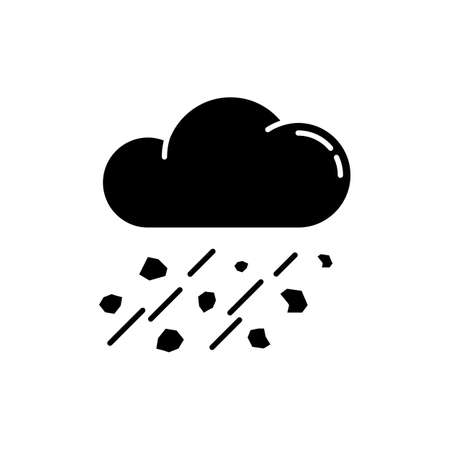 Mixed rain black glyph icon. Hailstorm, meteorology silhouette symbol on white space. Bad weather forecast, strong atmospheric precipitation. Raining cloud with hail vector isolated illustration