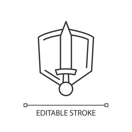 History epic pixel perfect linear icon. Thin line customizable illustration. Common movie genre, filmmaking category contour symbol. Sword and shield vector isolated outline drawing. Editable stroke