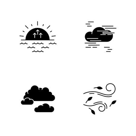 Morning weather black glyph icons set on white space. Meteorological forecast, environment condition report silhouette symbols. Sunrise, fog, cloudy sky and strong wind. Vector isolated illustration