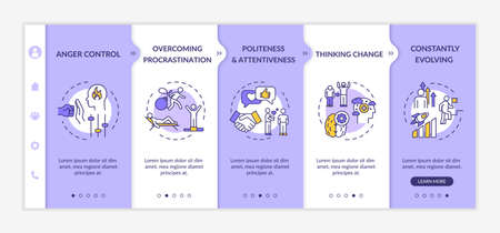 Emotional maturity onboarding vector template. Constantly evolving. Thinking change. Anger control. Responsive mobile website with icons. Webpage walkthrough step screens. RGB color concept
