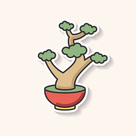 Bonsai patch. Tiny cultivated potted tree. Decorative gardening as hobby. Flowerpot with dwarf plant with foliage on branches. RGB color printable sticker. Vector isolated illustration Stock Illustratie