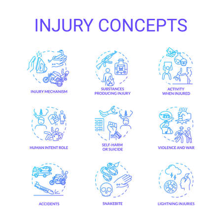 Injury factors, trauma causes concept icons set. Human intention, incidents, domestic and traffic accidents idea thin line RGB color illustrations. Vector isolated outline drawings
