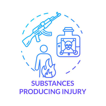 Substances producing injury, gun types concept icon. Poison and toxic liquid fatal effect, gunshot wound and body burn thin line illustration. Vector isolated outline RGB color drawing