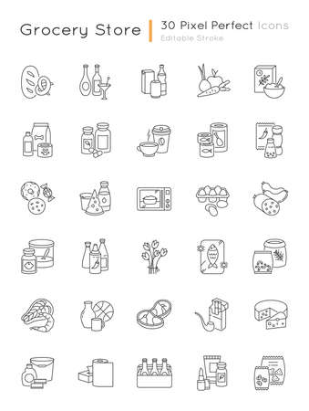 Groceries category pixel perfect linear icons set. Various supermarket food sections. Drink products. Customizable thin line contour symbols. Isolated vector outline illustrations. Editable stroke Vektorgrafik