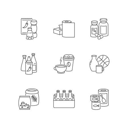 Groceries pixel perfect linear icons set. Condiments for cooking. Paper products. Pharmaceutical pills. Customizable thin line contour symbols. Isolated vector outline illustrations. Editable stroke