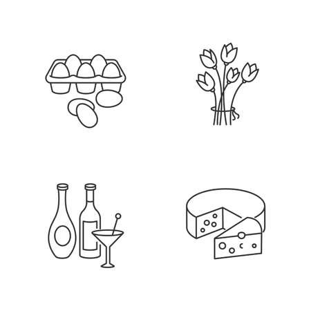 Retail products pixel perfect linear icons set. Fresh chicken eggs in tray. Alcoholic beverages. Customizable thin line contour symbols. Isolated vector outline illustrations. Editable stroke