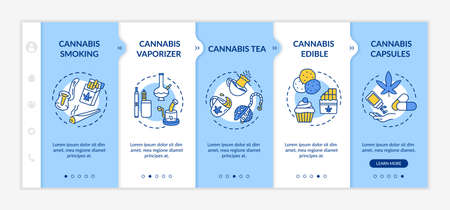 Cannabis forms onboarding vector template. Marijuana tea, cupcakes and chocolate. Weed smoking. Responsive mobile website with icons. Webpage walkthrough step screens. RGB color concept