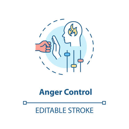 Anger control concept icon. Self improvement, personal growth, stress management idea thin line illustration. Managing negative emotions. Vector isolated outline RGB color drawing. Editable stroke