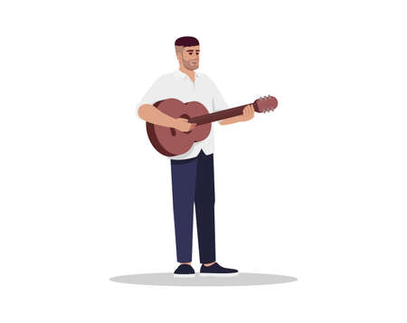 Guitarist semi flat RGB color vector illustration. Male musician with guitar. Man with musical instrument. Entertainer sing live. Performer isolated cartoon character on white background Illusztráció