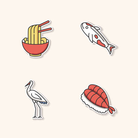 Japan printable patches. Ramen in bowl with chopsticks. Koi carp fish. Crane bird. Sushi dish. Traditional japanese attributes RGB color stickers, pins and badges set. Vector isolated illustrations Vettoriali