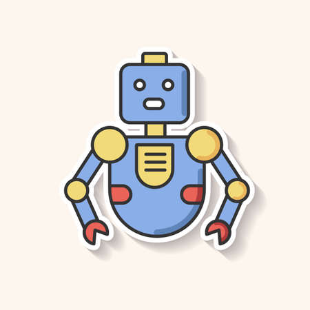 Robot patch. Innovative technology. Artificial intelligence. Futuristic children toy. Cute cyborg mascot. Humanoid machine. RGB color printable sticker. Vector isolated illustration