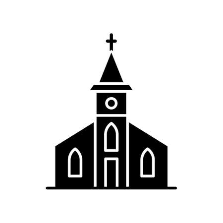 Catholic church black glyph icon. Religious establishment with cross on roof. Christian town chapel. Gospel for congregation. Silhouette symbol on white space. Vector isolated illustration Vettoriali