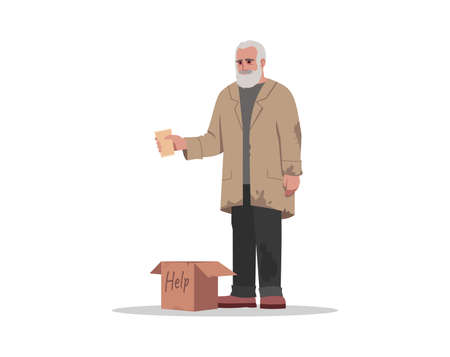 Homeless man beg for money semi flat RGB color vector illustration. Unemployed person in poverty wait for donation. Help jobless senior. Beggar isolated cartoon character on white background Illustration