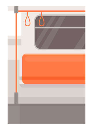Train left side seat semi flat vector illustration. Subway chair row with handrails. Public transport with nobody inside. Empty underground transport. Metro 2D cartoon background for commercial use Illustration