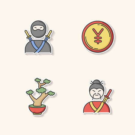 Japan printable patches. Ninja warrior. Yen coin. Bonsai tree in pot. Samurai, asian martial arts. Traditional japanese symbols RGB color stickers, pins and badges set. Vector isolated illustrations