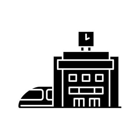 Railway station black glyph icon. Bullet train arrive platform. Public transportation. Railroad access building. Rapid transit. Silhouette symbol on white space. Vector isolated illustration