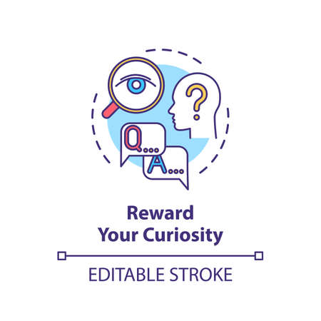 Reward your curiosity concept icon. Self motivating, indulging yourself idea thin line illustration. Personal development, self improvement. Vector isolated outline RGB color drawing. Editable stroke