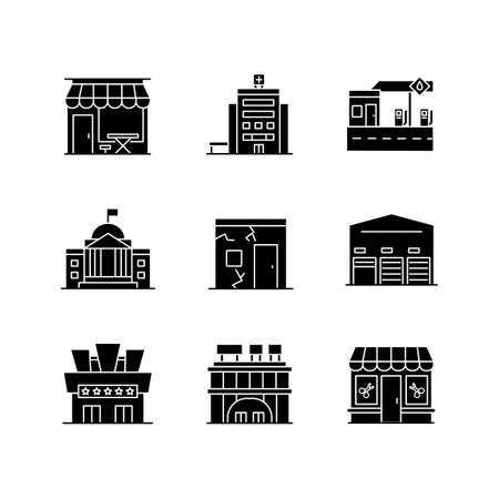 Urban building exteriors black glyph icons set on white space. Cafe exterior. Hospital entrance. State institute. Cracked slum. Storage unit. Silhouette symbols. Vector isolated illustration