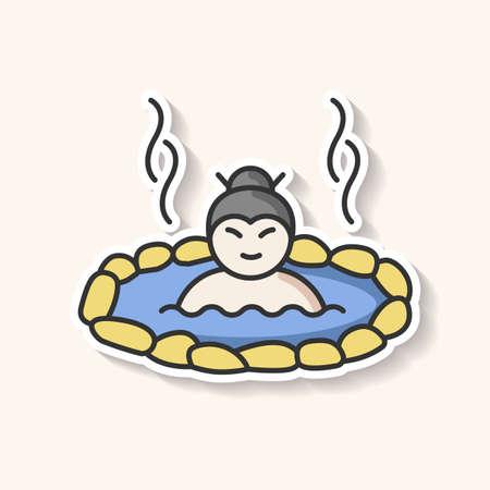 Patch mit heißen Quellen. Mann tränkt in japanischem Onsen. Spa-Resort zur Erholung. Vulkanischer Pool zum Ausruhen. Geothermie-Resort im Freien. Bedruckbarer RGB-Farbaufkleber. Isolierte Vektorgrafik