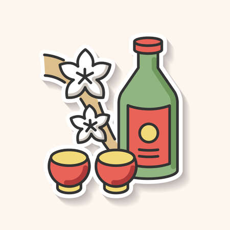 Sake patch. Japanese rice wine and sakura branch. Korean soju drink with two mugs. Asian liquor in bottle with shot cups. Alcoholic beverage. RGB color printable sticker. Vector isolated illustration 일러스트