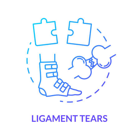 Ligament tears, foot tendon rupture concept icon. Leg muscle injury, feet joint trauma treatment method idea thin line illustration. Vector isolated outline RGB color drawing