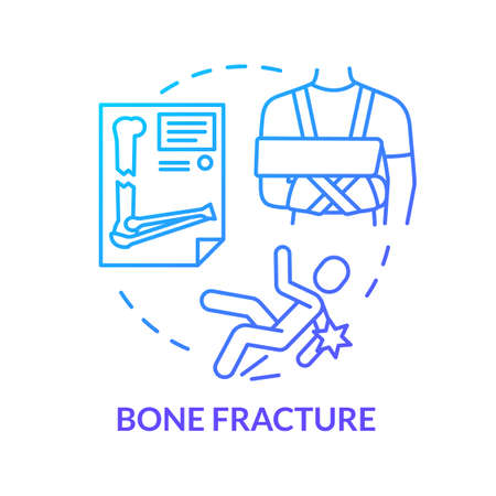 Cartilage fracture, bone trauma concept icon. Traumatology, injured area X-ray diagnostics. Broken bones treatment idea thin line illustration. Vector isolated outline RGB color drawing