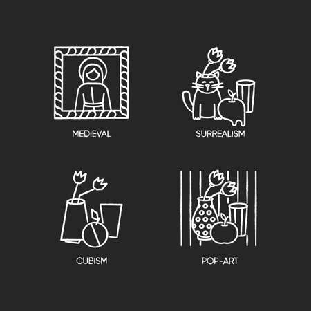 Art movements chalk white icons set on black background. Surrealism and cubism styles. Medieval portrait and pop art still life paintings. Isolated vector chalkboard illustrations