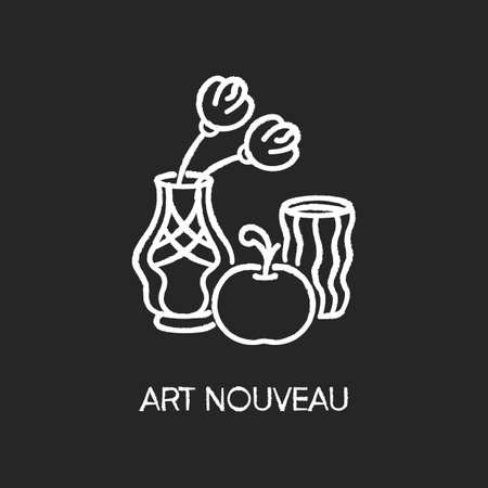 Art nouveau chalk white icon on black background. French cultural movement. Visual art style. Still life painting. Experimental decorative artwork. Isolated vector chalkboard illustration 일러스트