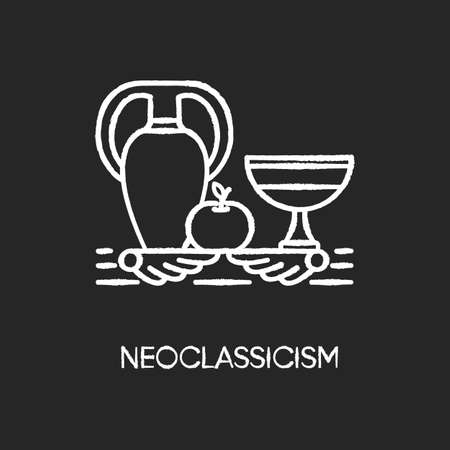 Neoclassicism chalk white icon on black background. Western cultural movement. Classical antiquity visual art. Still life. Ancient Greek style revival. Isolated vector chalkboard illustration