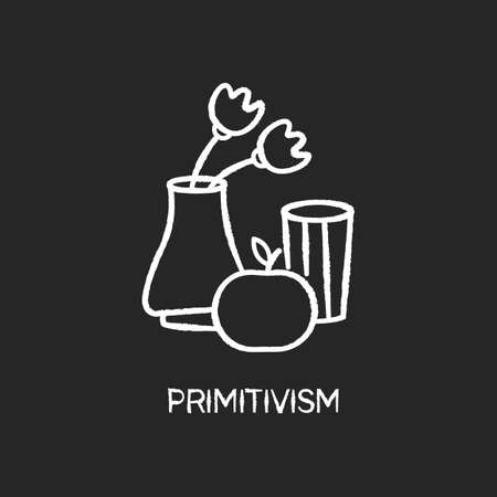 Primitivism chalk white icon on black background. Vase and fruit painting in minimalism style. Western modern cultural movement. Still life. Isolated vector chalkboard illustration