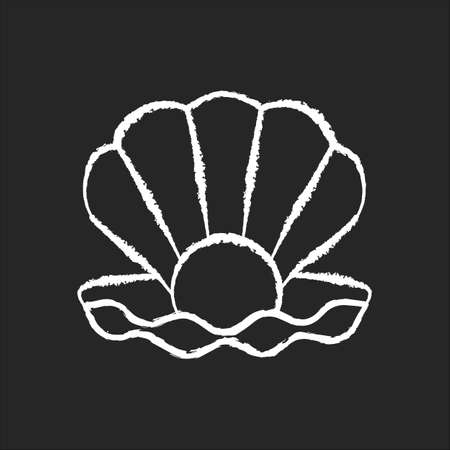 Open clam with pearl chalk white icon on black background. Exotic seashell with precious gem. Ocean souvenir, conchology Scallop shell, oyster, mussel isolated vector chalkboard illustration