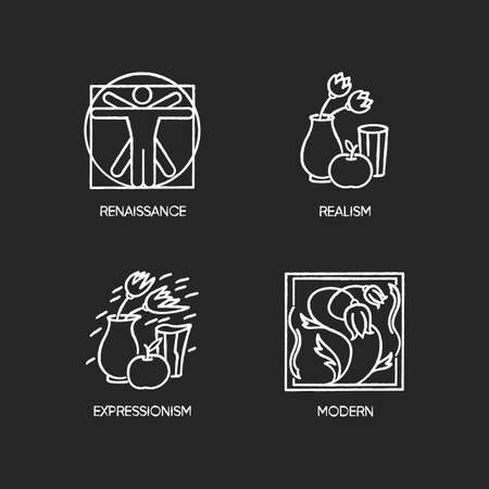 Cultural movements chalk white icons set on black background. Renaissance and modern European art styles. Realism and expressionism paintings. Isolated vector chalkboard illustrations