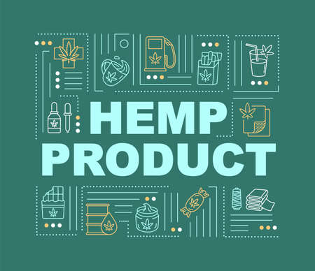 Hemp product word concepts banner. Cannabis use in medicine, fuel and construction. Infographics with linear icons on green background. Isolated typography. Vector outline RGB color illustration