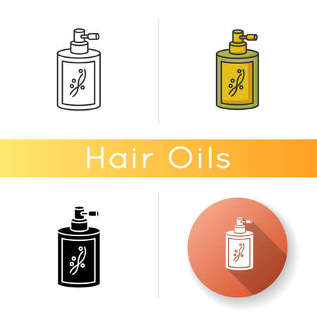 Liquid silicon in bottle icon. Conditioner in jar container with sprayer. Chemical cosmetic product for hair treatment. Linear black and RGB color styles. Isolated vector illustrations